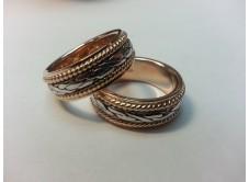 обручальные кольца с плетеной вставкой