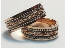 обручальные кольца с плетеной вставкой (вариант)